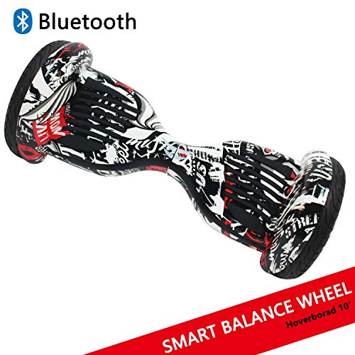 Dragon Gyropode Hoverboard avec Roues de 10' Scooter électrique Scooter à équilibrage Automatique Smart Balance Board Scooter à équilibre Automatique (Pirate)