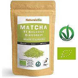 Té Verde Matcha Orgánico Japonés En Polvo [ Grado Culinario ] 50 gr   Matcha Biológico para Cocinar   Matcha Ecológico Cultivado En Japón, Uji, Kyoto   Ideal Para hornear, En a Cocina Y Con Latte