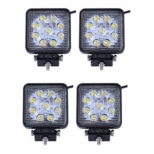 LARS360 4x 27W Quadrato LED Faro da lavoro, Fari per fuoristrada Faro anteriore,IP67 Impermeabile...