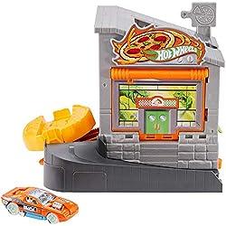 Mattel Hot Wheels-City Dino-Ataque a la pizzería, Pistas de Coches de Juguetes niños +4 años GBF90