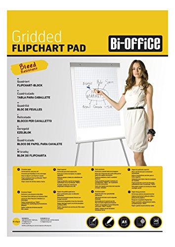 Bi-Office Blocco Per Lavagna di Carta A1, A Quadretti, 20 Fogli per Blocco, Lato Superiore...