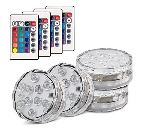 Set di 4 Pezzi Luce a LED RGB Sommergibile Luci Multicolori impermeabili 4 X 10pcs LED SMD con...