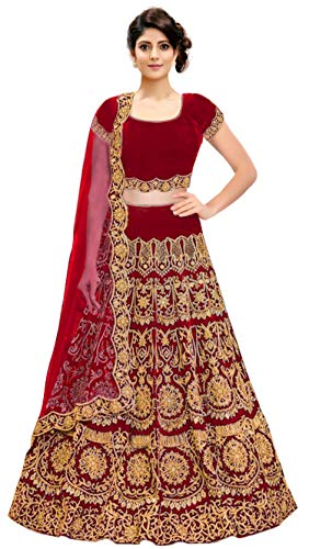 KEDARFAB Women's Bangalore Silk Embroidered Lehenga Choli with Blouse Piece (Red, Free Size)