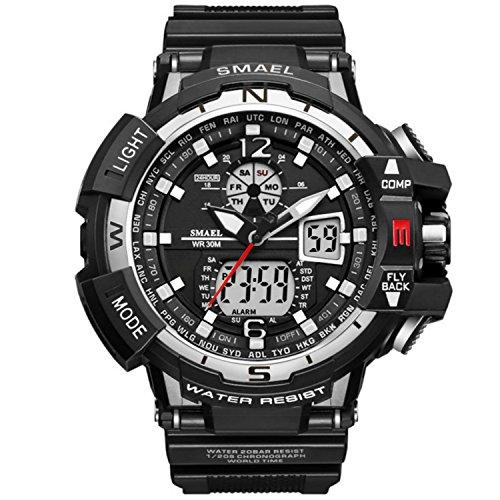 Analógico Digital Reloj Militar Reloj Deportivo para Hombre Doble Esfera Business Casual multifunción electrónico muñeca Relojes Resistente al Reloj de Pulsera (Blanco)