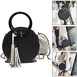 Pawaca Bolso de mano de paja para mujer, bolso de hombro de playa, bolso de verano cruzado redondo con correas de cadena (negro), negro, 20*20*10cm