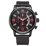 Modiwen uomini cinturino in pelle quarzo sport causale orologi con porta cronografo impermeabile maschio orologio da polso analogico Black
