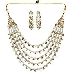 Jaipur Mart Alloy Metal Gold Plated Kundan Necklace Set for Women/Girls (KN201WHT)