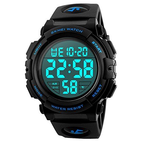 Orologio digitale sportivo da uomo, per corsa all'aperto, impermeabile fino a 5 atm, orologio militare sportivo con cinturino largo, orologio LED con allarme (blu)