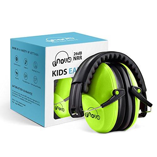 Niños orejeras /Fnova protección auditiva para los oídos,compacto y plegable,diadema ajustable,Producto ideal para protejer los oidos de los más pequeños (Verde)