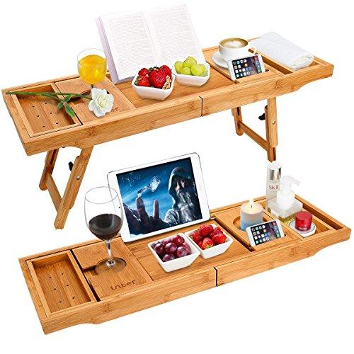 Unuber Badewanne Caddy & Laptop Bett Schreibtisch - 2 in 1 innovatives Design verwandelt unsere 100{3d5baeceb919bfafe94fde75e437b8ad3551fbd62b2945cfd8628b4b1634fab0} extra große Bambus Badewanne Tablett zu Bett Tablett - für das ultimative Verwöhnerlebnis