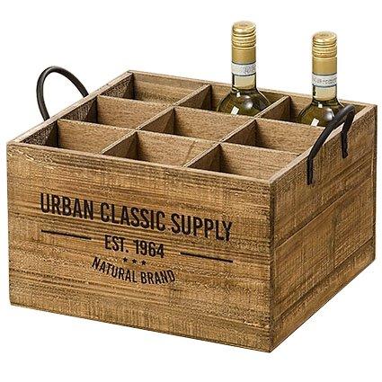 Arredamento, decorazione - cassetta portabottiglie da vino - rustico, vintage - materiale: legno - colore: marrone naturale - dim. ca 40 cm