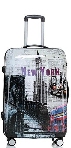set di fino a 3 valigie bagaglio trolley abs policarbonato rigido leggero 4 ruote 360° con motivo...