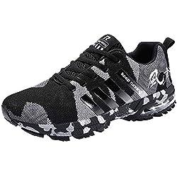 LuckyGirls Hombre Zapatillas de Correr Camuflaje Malla Casual Calzado de Deporte Transpirables Zapatos Deportivos con Cordones Moda Bambas de Running
