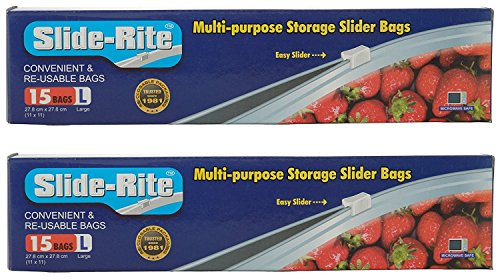 Slide-Rite Amit Marketing Multi-Purpose Storage Plastic Slider Bag, 1 L, Clear, 30 Piece -Set of 2