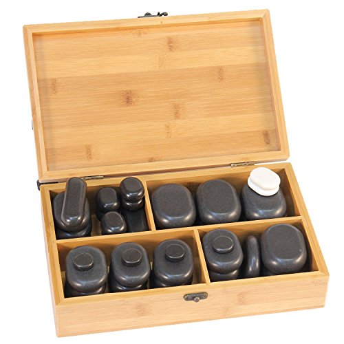 Hot Stone Set von TAOline, 40 Basalt Massagesteine inkl. Cold Stones, Hot Stones für professionelle Massagetherapeuten und Privatanwender