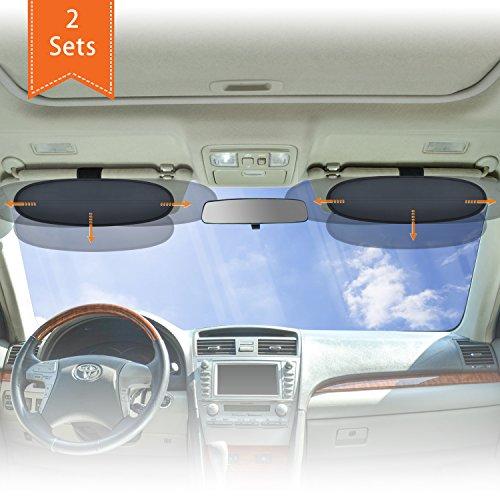 WANPOOL Anti-Blendschutz für Auto Visier Sonnenblenden Verlängerung für den Fahrer und Passierie auf dem Vordersitz (Silber) - 2 Stück