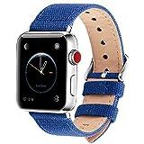 Fullmosa Compatibile Cinturino Apple Watch 44mm 42mm 40mm 38mm,8 Colori Canvas Nato Stile per Cinturino Iwatch Compatibile con Apple Watch Series 4 (44mm 40mm) Series 3,2,1 (42mm 38mm),42mm Blu