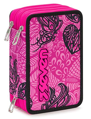 Astuccio 3 Zip Seven Colorflower, Rosa, Con materiale scolastico: 18 pennarelli Giotto Turbo Color,...