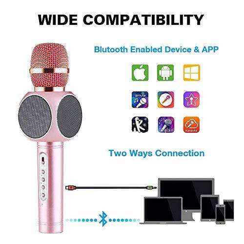 JASZW Drahtloses Mikrofon Karaoke, tragbare Hand-Karaoke-Maschine für Kinder Erwachsene Spieler Lautsprecher Geburtstagsgeschenk Party iPhone Android Smartphone