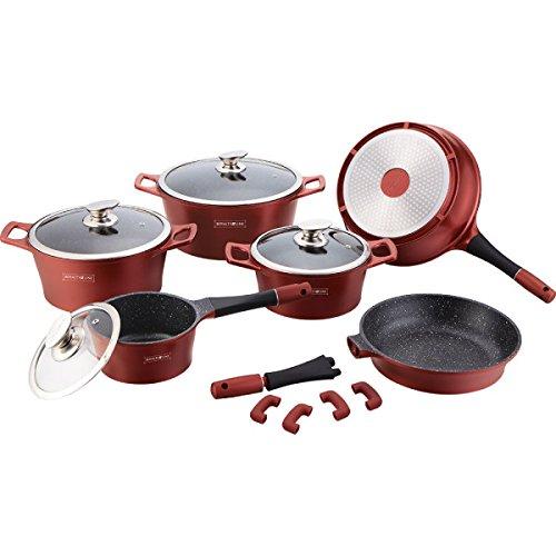 Royalty Line 369C Set da Cucina 15 Pezzi, Pietra, Rosso, 15 Pezzi
