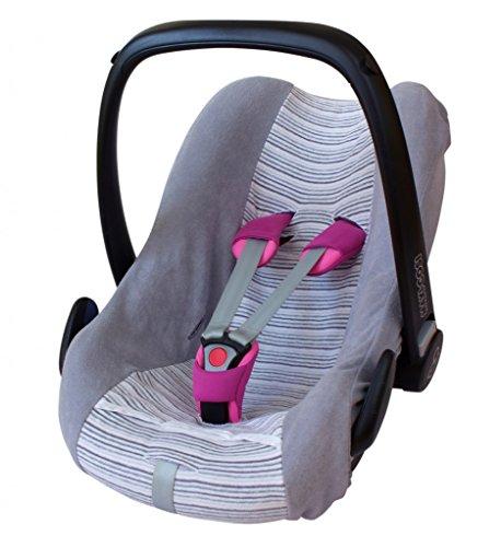 byboom®–Universal Funda de verano, colchón de rizo con rayas para portabebés, Auto asiento, por ejemplo Maxi Cosi Cabrio Fix, City, Pebble; Diseñado en Alemania, fabricado en la ue, color: gris/de rayas gris
