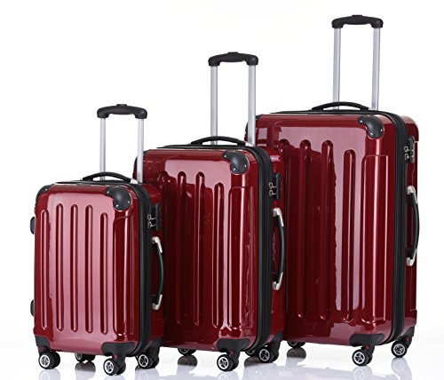 BEIBYE Zwillingsrollen 2048 Hartschale Trolley Kofferset Reisekoffer in M-L-XL-Set in 14 Farben (Set, ROT)