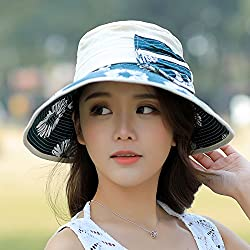 Hats, Summer Shade, Sunscreen, Beach Hat, Uv Protection, Cotton, Outdoor Leisure Hats,Lake Blue