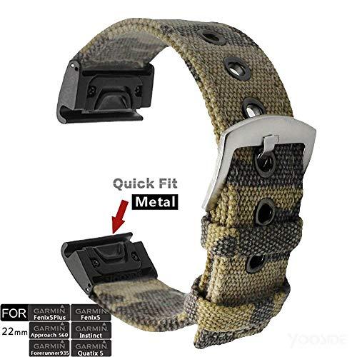 YOOSIDE Quick Fit Cinturino per Fenix 5, 22mm Canvas Cinturino di Ricambio in Acciaio Inossidabile Mimetico di Tela per Garmin Fenix 5/5 Plus, Approach S60, Quatix 5, Instinct, Forerunner 935