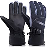 OKELAY Ski Gloves Men Waterproof, Winter Warm Thick Thermal Gloves 3M Thinsulate,Snowboarding gloves Insulated with Zipper Pocket for Outdoor Downhill Skiing Cycling (Large)
