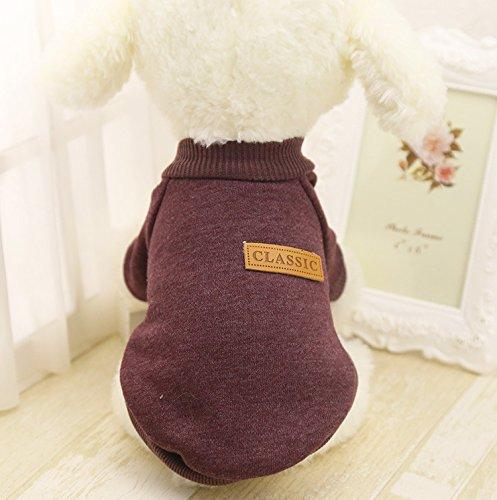 Idepet Haustier Katze Hund Pullover, Warme Hund Pullover Cat Kleidung, Fleece Haustier Mantel für Welpen Klein Mittel Groß Hund (XS, Braun)