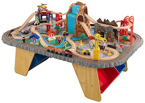 KidKraft 17498 Set treno e tavolo giocattolo in legno per bambini Waterfall Junction con 112 pezzi...
