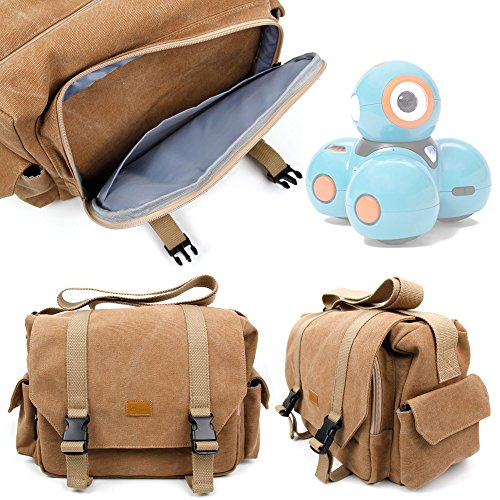 51ZDZkeU1TL - DURAGADGET Bolso Marrón/Canvas para Robots educativos Dash y Dot - Wonder Workshop Garantía 2 Años - Tamaño Grande