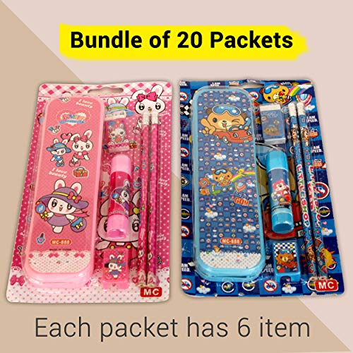 TIED RIBBONS Birthday Return Gifts for Kids, Childrens, Boys, Girls(Pack of 20 , Each Pack Contains: 1 Pencil Box, 2 Pencils,1 Eraser, 1 Pencil Sharpner,1 Glue Stick)