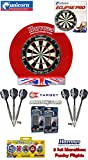 Unicorn Eclipse Pro Dartboard/Dartscheibe + Surround für Dartboards + 2 Set Target Phil Taylor Darts + Abwurflinie + 5er Set Flights