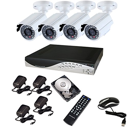 KIT VIDEOSORVEGLIANZA DVR 8 CANALI 4 TELECAMERA INFRAROSSI+DVR+ALIMENTATORE+HD