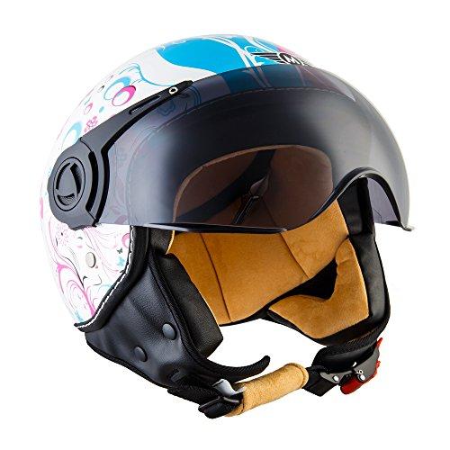 "Moto Helmets® H44 \""Flower\"" · Jet-Helm · Motorrad-Helm Roller-Helm Scooter-Helm Bobber Mofa-Helm Chopper Retro Cruiser Vintage Pilot Biker Helmet · ECE Visier Schnellverschluss Tasche XS (53-54cm)"