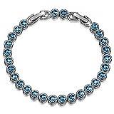 Susan Y Damen Tennis Armband mit Swarovski Kristall Blau Aquamarin Weihnachtsgeschenke Schmuck Geschenke Geburtstag Valentinstag Jubiläum Hochzeit Mutter Frau Tochter Mädchen Freundin Frauen Sie