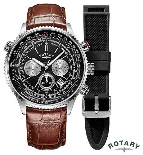 Rotary Piloti da uomo | cronografo | quadrante nero | cinturino in pelle marrone GS00100/04/KIT