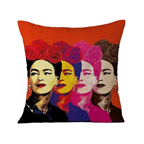 FEIRAN 3D Impreso Frida Kahlo Autorretrato Funda de Almohada Funda de cojín para Sofá Coche Decoración para el hogar 29 45X45cm