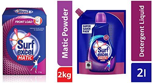 Surf Excel Matic Front Load Detergent Powder, 2 kg & Front Load Matic Liquid Detergent Pouch - 2 L Combo