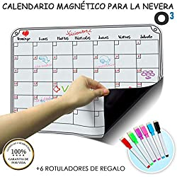 O³ Calendario Magnetico Nevera + Regalo - Pizarra Magnética Nevera Mensual - Organizador Frigorifico - Tareas - Exámenes - Eventos | Planificador Mensual para Toda La Familia En Español