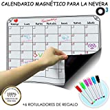 O³ Calendario Magnetico Nevera + 6 Colores Para Marcar - Pizarra Magnética Nevera Mensual - Organizador Frigorifico - Tareas - Exámenes - Eventos | Planificador Mensual Para Toda La Familia En Español