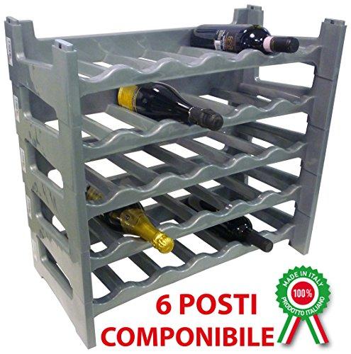Porta bottiglie componibile modulare impilabile cantinetta vino in plastica grigia 6 posti