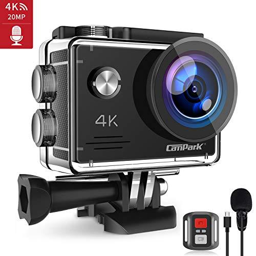 【2020 Nuova】Campark 4K 20MP Action Cam con EIS Telecomando Microfono Esterno WiFi Videocamera Subacquea 40M 2 Batterie e Kit Accessori (Compatibile con gopro)