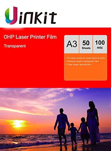 Uinkit Lucidi per lavagna luminosa, fogli trasparenti di pellicola OHP in formato A4 per stampante...