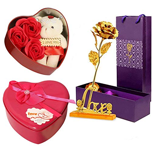 AmazHub Combo of Artificial Golden Rose Flower with Love Stand and Beautiful Red Heart Box with 3 Roses and Soft Teddy Bear|for Loves Ones,Valentine's Day|Mother's Day,Anniversary,Birthday (Golden)