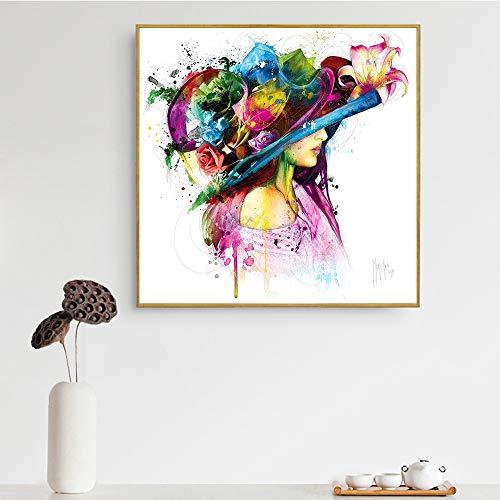 hetingyue Arte Pop sin Marco Pintura al óleo Abstracta Mujer Forma de Calavera Tacones Altos Labios niña Arte de la Pared Lona 70x70cm