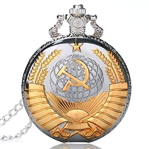 Golden sovietica simbolo Orologio da tasca, regali di stile russo, orologi Argento tasca Watcher per...