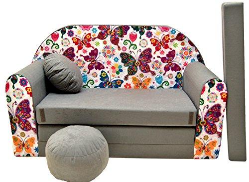 PRO COSMO A33Divano Letto con Pouf/poggiapiedi/Cuscino, in Tessuto, Multicolore, 168x 98x 60cm, per Bambini