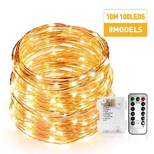 Stringa Luci Led, Catene Luminose 100 LEDS 10M Ghirlanda di Luci Calda, Filo di Rame Iimpermeabile,...
